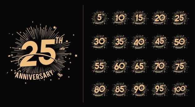 Set verjaardag viering nummer en vuurwerk achtergrond met swoosh en confetti Premium Vector