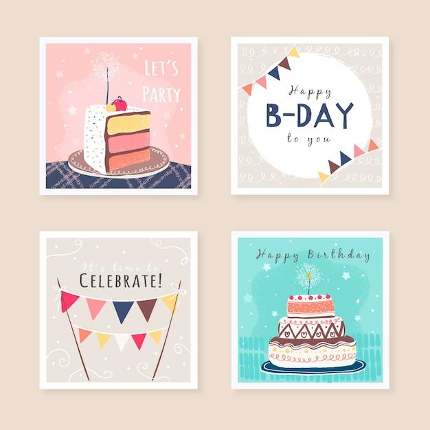 Set verjaardag wenskaarten ontwerp Gratis Vector