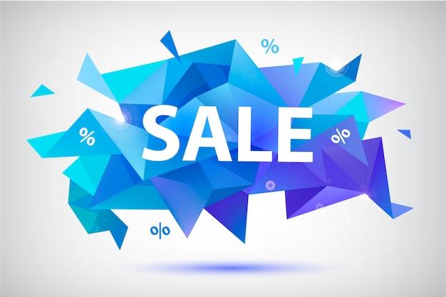 Set verkoop gefacetteerde geometrische banners, posters, kaarten. abstracte kortingsvormen. gebruik voor reclame, web Premium Vector
