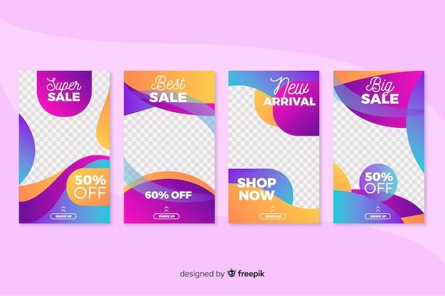 Set verkoop instagram-verhalen Gratis Vector
