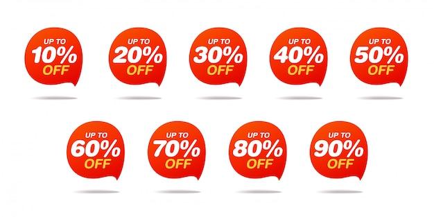 Set verkoop tags. korting stickerspakket Premium Vector