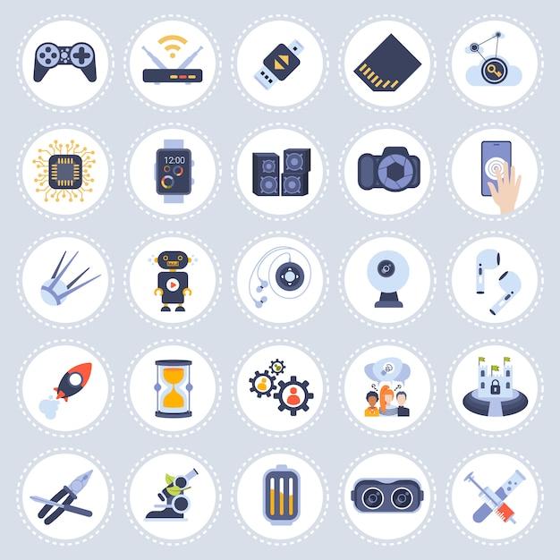 Set verschillende technologie iconen collectie plat geïsoleerd Premium Vector