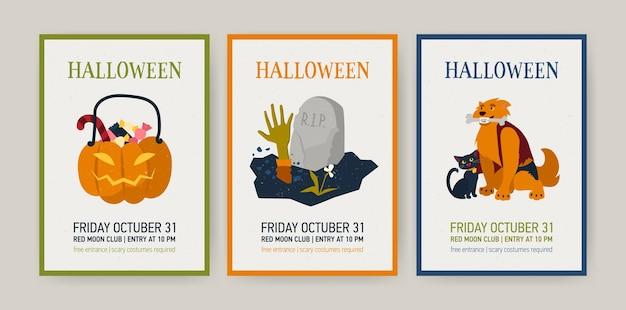Set verticale kerstkaarten of uitnodigingssjablonen met halloween-tekens Premium Vector