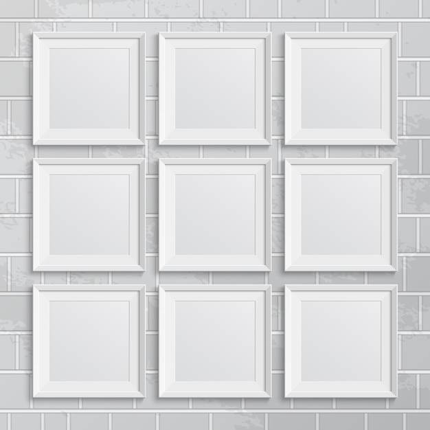 Set vierkante afbeeldingsframes op bakstenen muur. illustratie Premium Vector