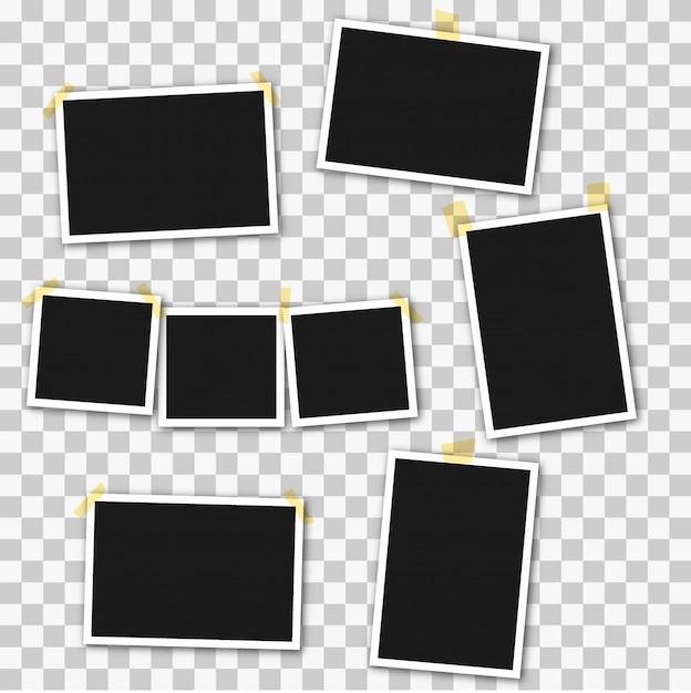 Set vierkante fotolijsten op plakband, pinnen Premium Vector