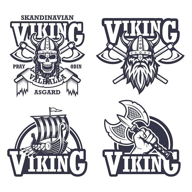 Set viking emblemen, labels en logo's. monochrome stijl Gratis Vector