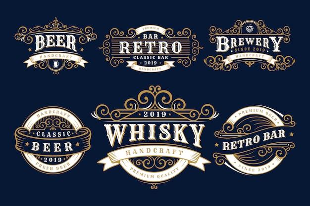 Set vintage badges brouwerij, brouwerij winkel en emblemen Premium Vector