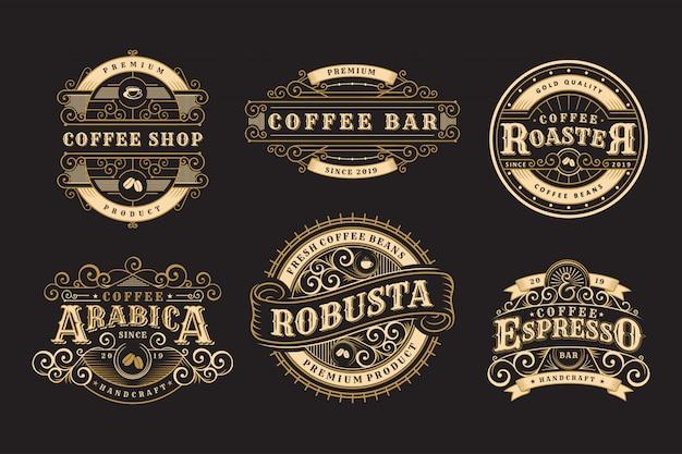 Set vintage badges koffie, koffieshop en emblemen Premium Vector