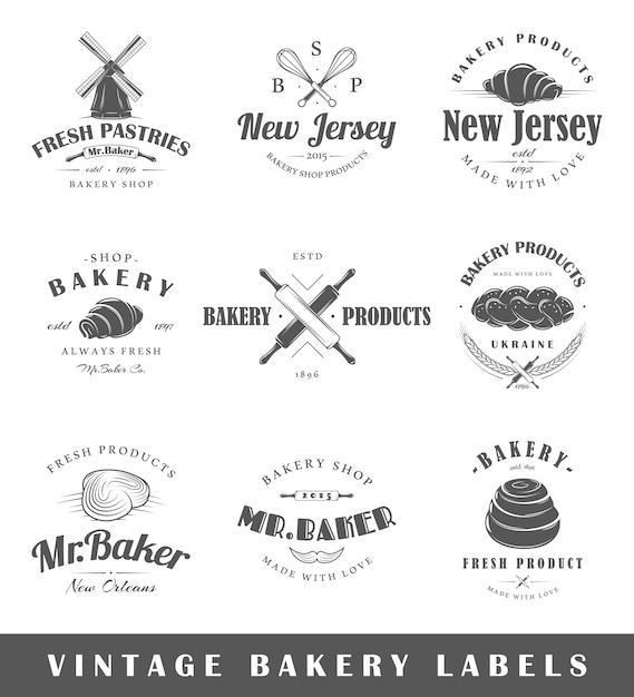 Set vintage bakkerij etiketten Premium Vector