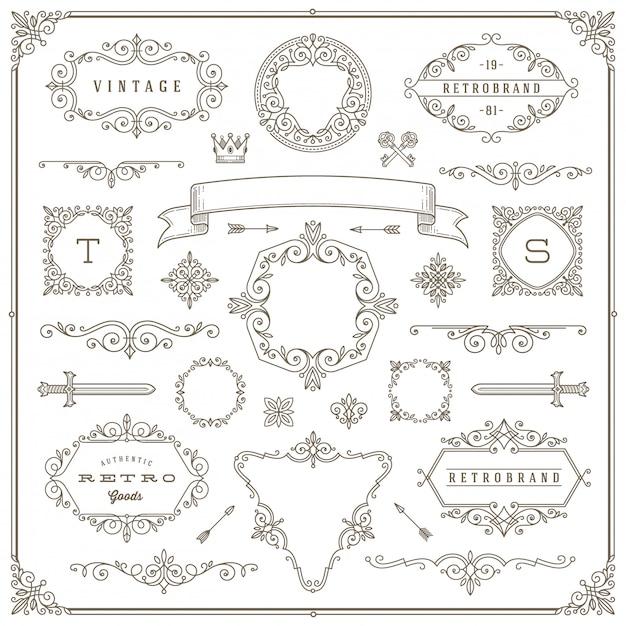 Set vintage elementen - bloeit en sierlijsten, rand, verdelers, banners en andere heraldische elementen voor logo, embleem, heraldiek, groet, uitnodiging, paginaontwerp. Premium Vector