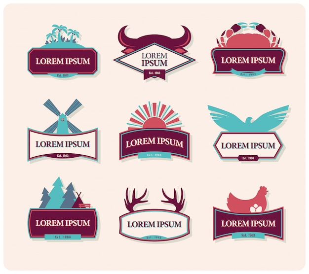 Set vintage embleem badges Premium Vector