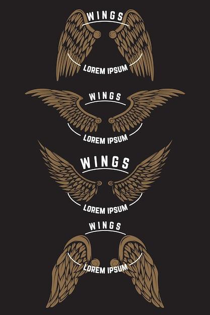 Set vintage embleem sjablonen met vleugels. elementen voor logo, label, embleem, poster. illustratie Premium Vector