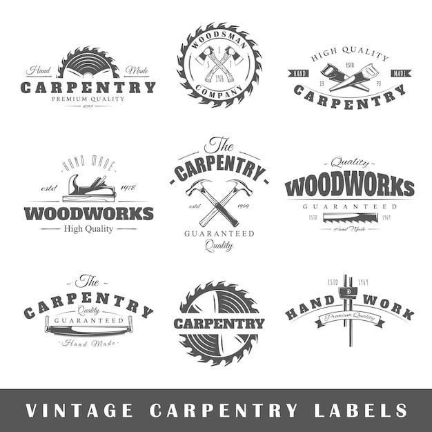 Set vintage etiketten timmerwerk Premium Vector