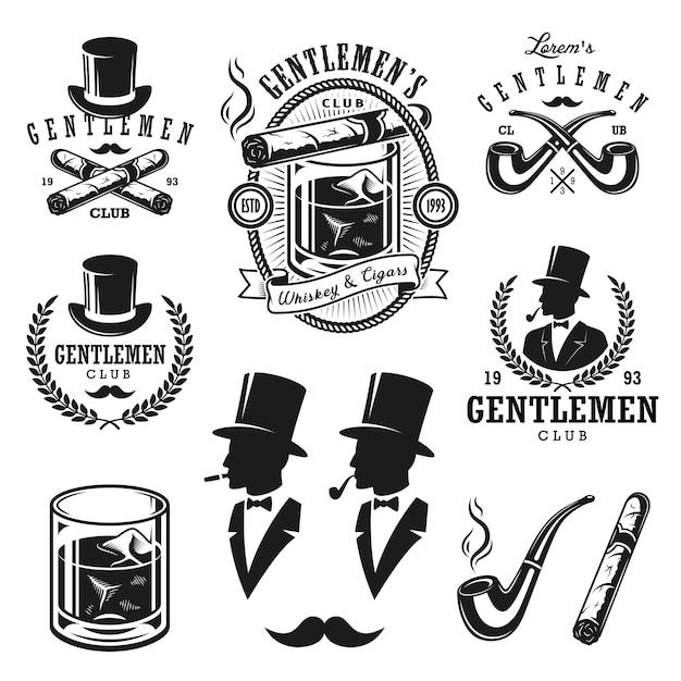 Set vintage heren emblemen, etiketten, insignes en ontworpen elementen. monochrome stijl Gratis Vector