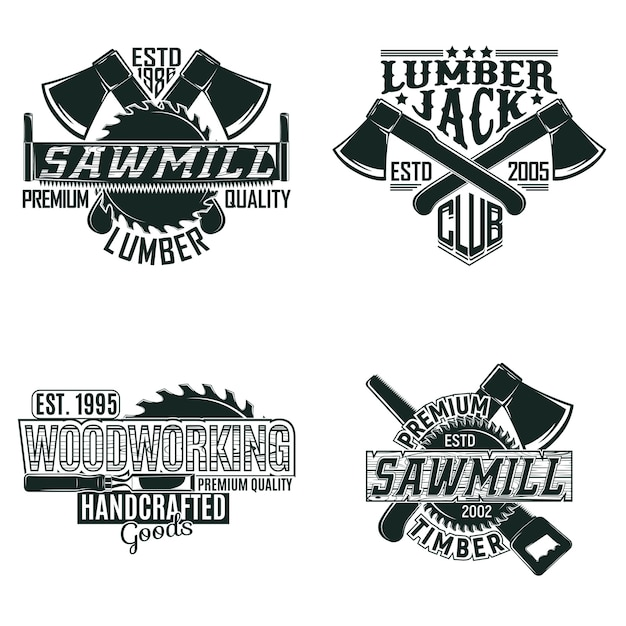 Set vintage houtbewerking logo-ontwerpen, grange print stempels, creatieve timmerwerk typografie emblemen Premium Vector