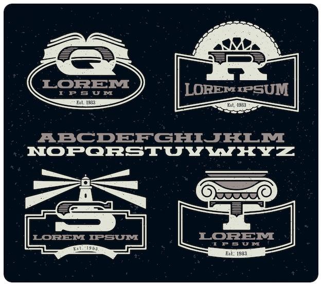 Set vintage insignes met lettertype Premium Vector