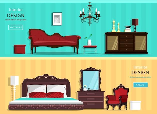 Set vintage interieur huis kamers met pictogrammen van het meubilair: woonkamer en slaapkamer. illustratie. Premium Vector
