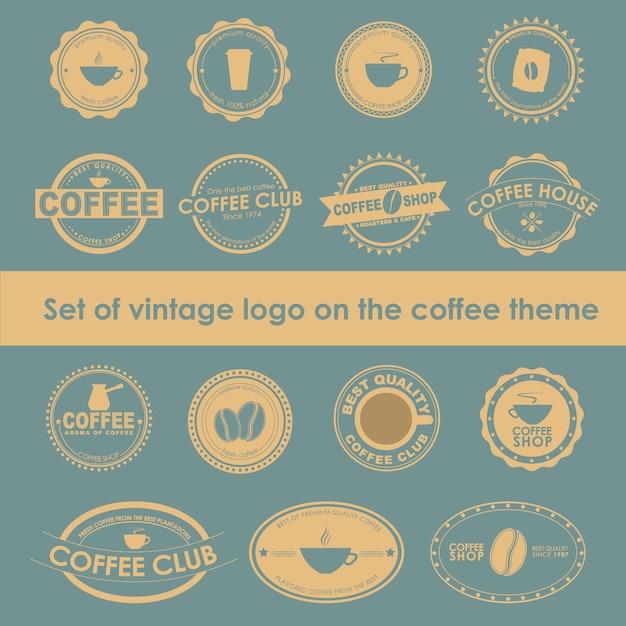 Set vintage koffie logo's Premium Vector