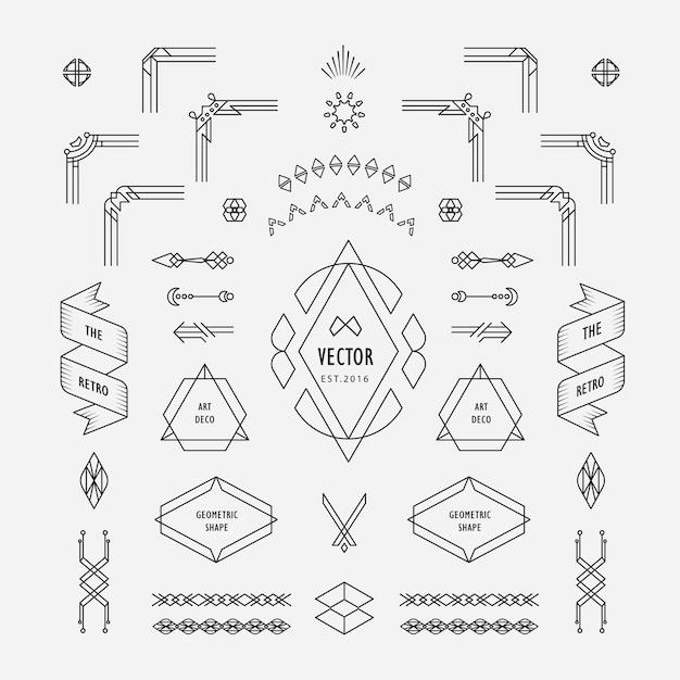 Set vintage lineaire dunne lijn art deco retro geometrische vormelementen met frame hoek badge Premium Vector