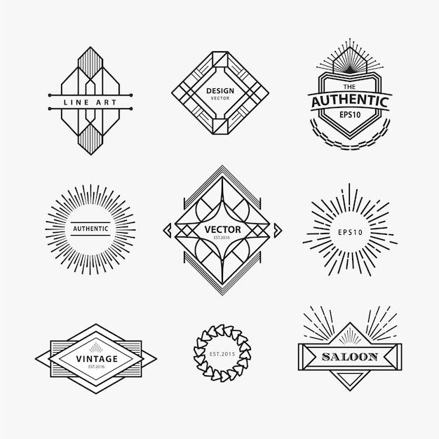 Set vintage lineaire dunne lijn geometrische logo ontwerp Premium Vector