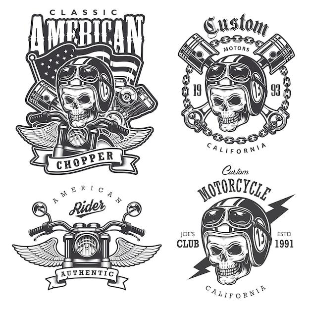 Set vintage motorfiets t-shirt prints, emblemen, etiketten, insignes en logo's. monochrome stijl. geïsoleerd op witte achtergrond Gratis Vector