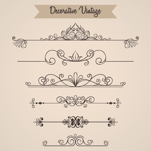 Set vintage ornamenten of vintage elementen Premium Vector