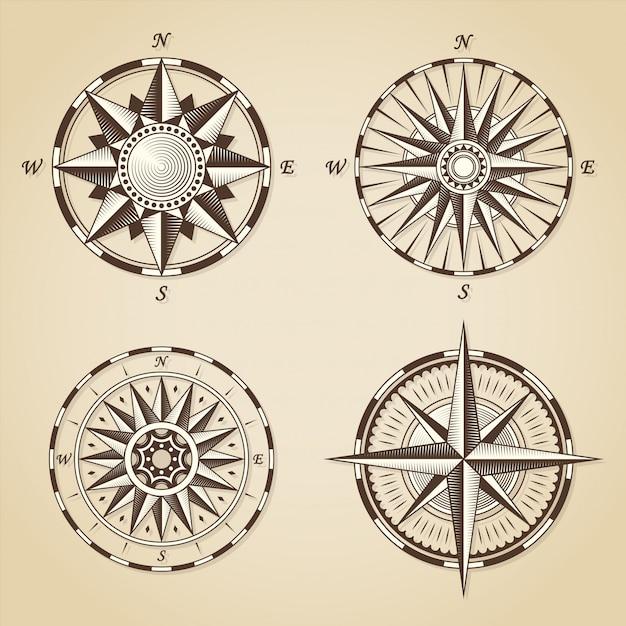 Set vintage oude antieke nautische kompasrozen Premium Vector