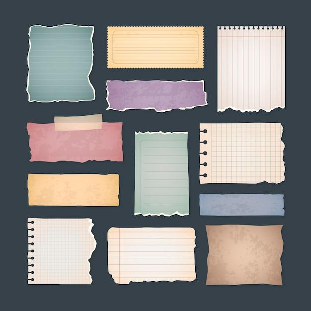 Set vintage plakboekpapieren Gratis Vector