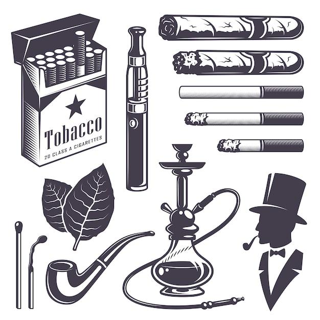 Set vintage rooktabak elementen. monochrome stijl. geïsoleerd op witte achtergrond. Gratis Vector