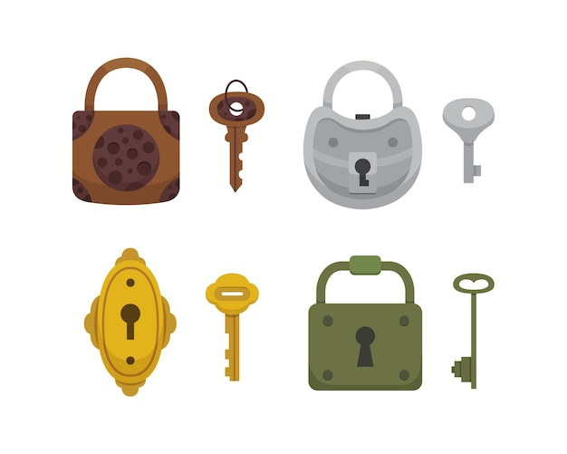 Set vintage sleutels en sloten. cartoon hangslot. geheim, mysterie of veilig pictogram. Premium Vector