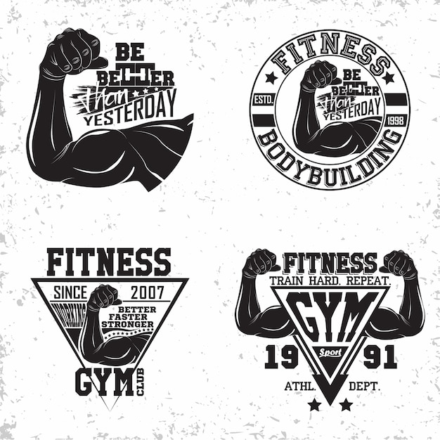 Set vintage t-shirt grafische ontwerpen, grange print stempels, fitness typografie emblemen, gym sport logo creatief ontwerp Premium Vector