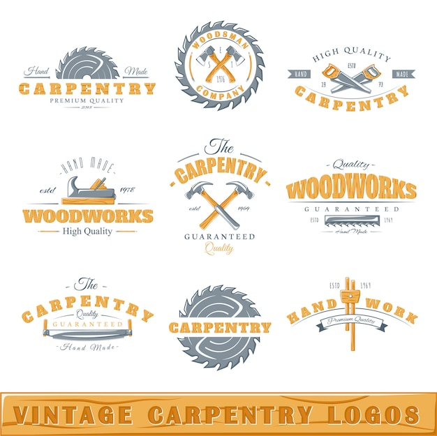Set vintage timmerwerk logo's Premium Vector