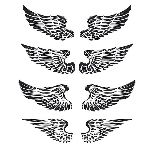 Set vintage vleugels op witte achtergrond. elementen voor logo, label, embleem, teken, merkmarkering. Premium Vector