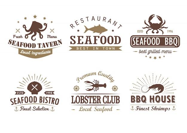 Set vintage zeevruchten, barbecue, grill logo sjablonen, badges en ontwerpelementen Premium Vector