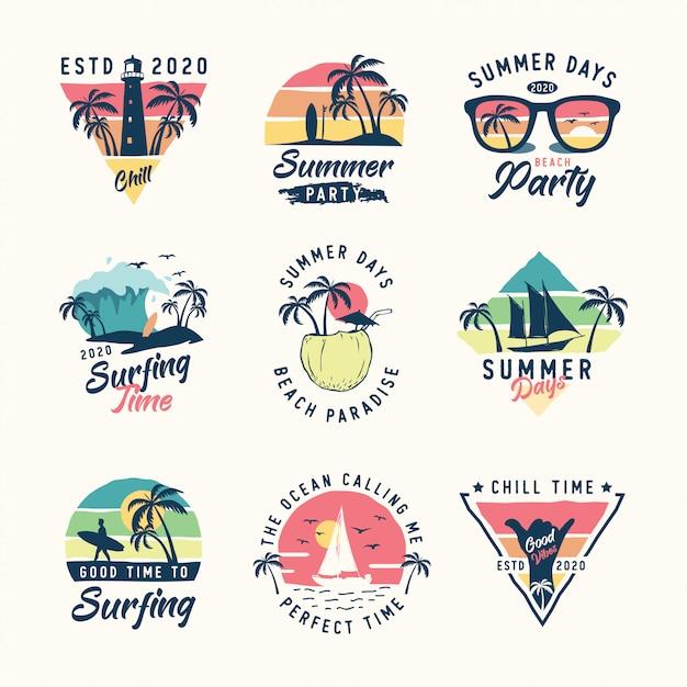 Set vintage zomer logo Premium Vector
