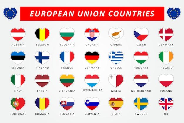 Set vlaggen van de europese unie landen hart Premium Vector