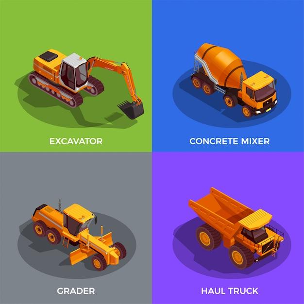 Set voertuigen voor grondwerk en transport van materialen Gratis Vector