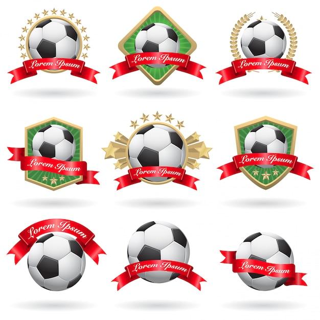 Set voetbal etiketten en emblemen Gratis Vector