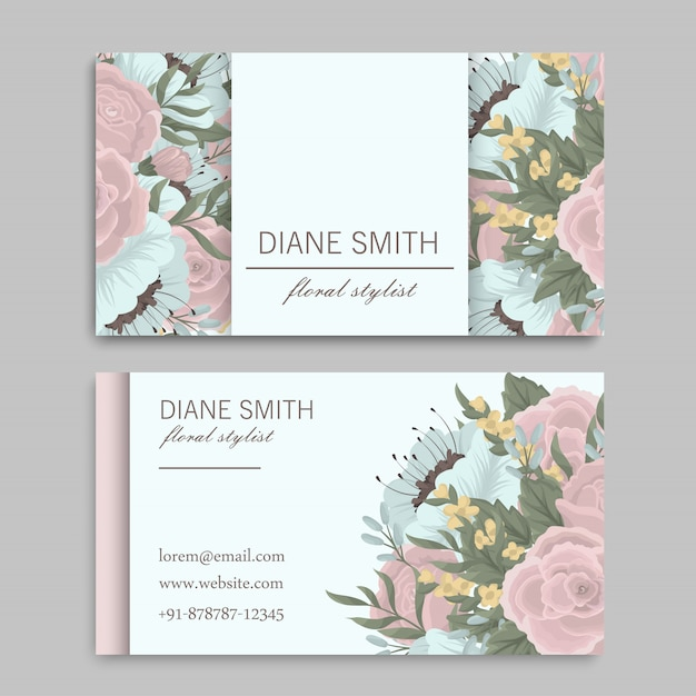 Set voor- en achterkant visitekaartje met bloemen Gratis Vector