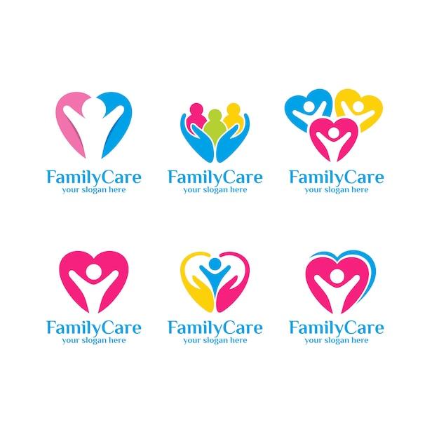 Set voor familie zorg logo sjabloon Premium Vector