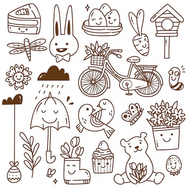 Set voorjaar gerelateerd object in kawaii doodle stijl Premium Vector