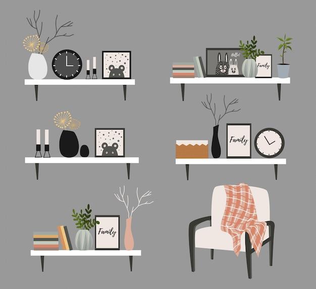 Set wandplanken voor een woonkamer in scandinavische stijl met bloempotten, vaas met een tak, boeken, klok en schilderijen. Premium Vector