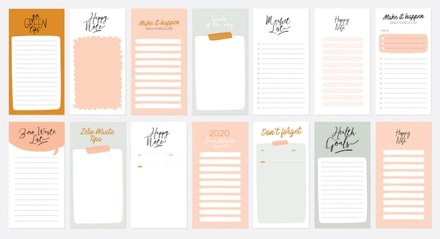 Set weekplanners en takenlijsten met zero waste-illustraties en trendy letters. sjabloon voor agenda, planners, checklists en ander briefpapier voor kinderen. Premium Vector