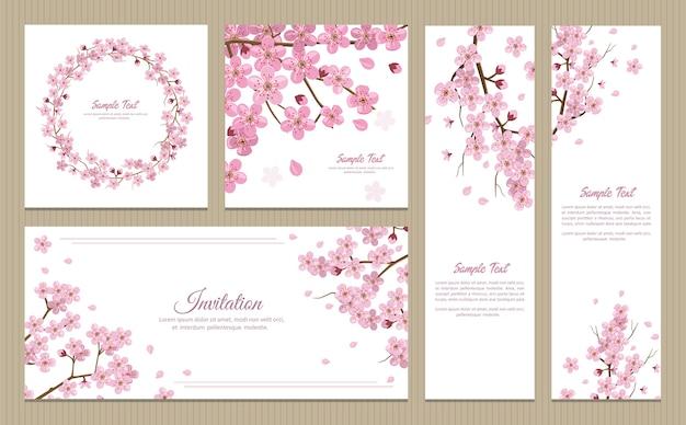 Set wenskaarten, banners en uitnodigingskaart met bloesem sakura bloemen Premium Vector