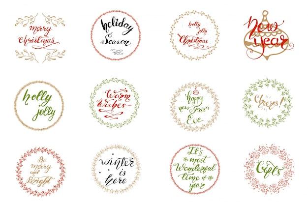 Set wenskaartontwerpen met kerst belettering. vector illustratie. Premium Vector