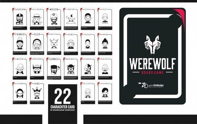Set werewolf card 20 character for boardgame collection Premium Vector