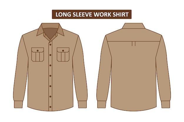 Set werkoverhemd met zak Premium Vector