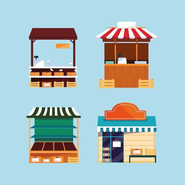Set winkelgevels en straat- of marktkraam Premium Vector