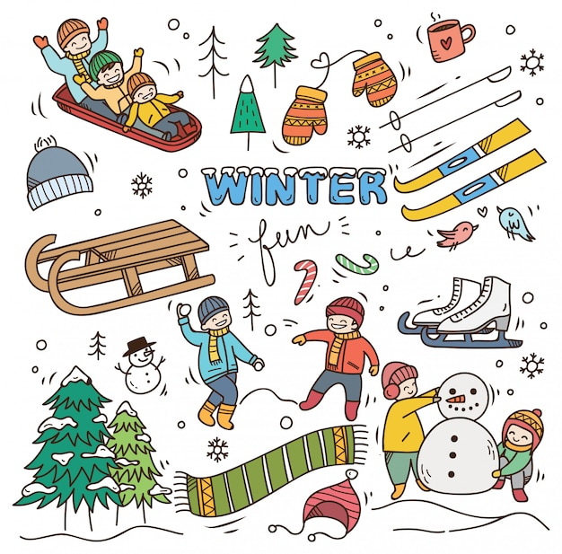 Set winter doodle Premium Vector
