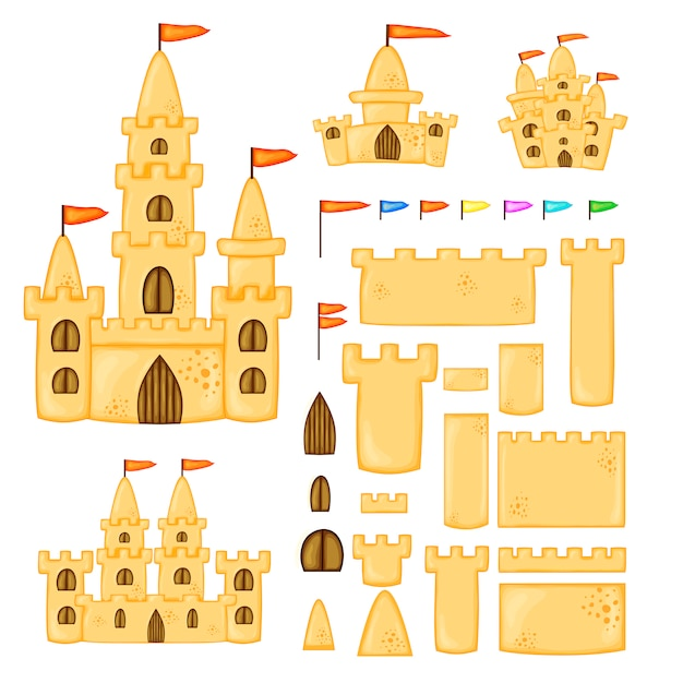 Set zandkastelen van verschillende vormen. cartoon zomercollectie in vector. Premium Vector